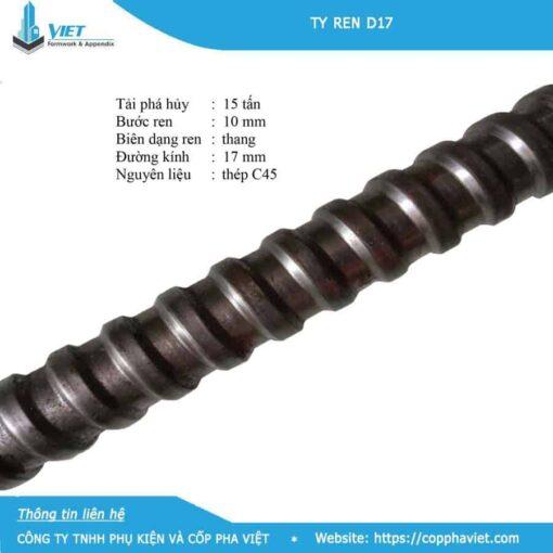 Ty ren D17 tải trọng 15 tấn bước ren 10mm