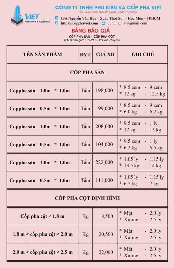 Bảng giá Cốp Pha Sàn