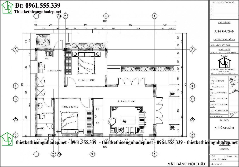 Mặt bằng nội thất nhà cấp 4 mái nhật 2 phòng ngủ