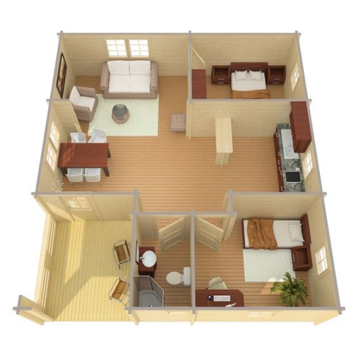 Nội thất bên trong mẫu nhà cấp 4 đẹp có 2 phòng ngủ được bố trí theo lối sống đơn giản nhưng lại cực kỳ tiện nghi cho mọi thành viên chỉ 200 triệu đồng.