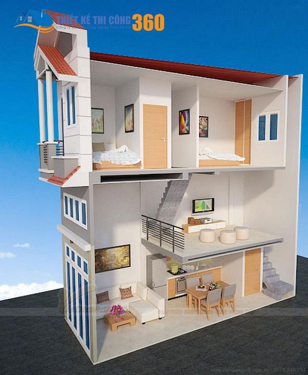 Mặt bằng bố trí nội thất của kiểu nhà 1 trệt 1 lửng 1 lầu đang được ưa chuộng