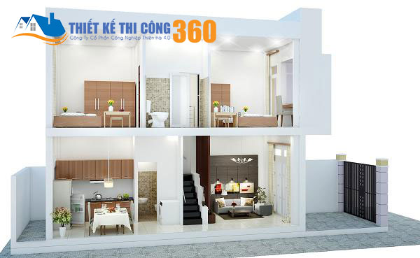 Tham khảo mặt bằng bố trí nội thất của kiểu nhà 1 trệt 1 lầu mái thái.