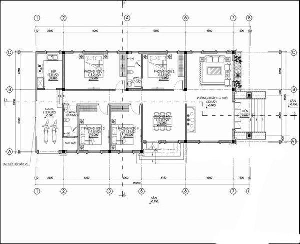 bản vẽ nhà cấp 4 diện tích 100m2