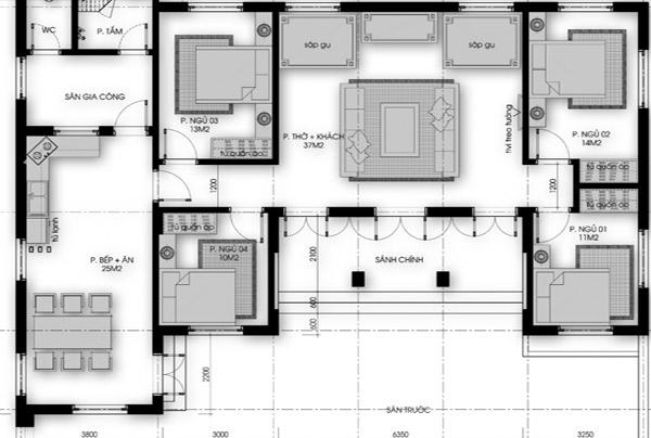 Cách phân chia kết cấu trong bản vẽ nhà cấp 4 có 4 phòng ngủ ở nông thôn giúp gia chủ hình dung rõ hơn
