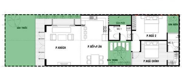 Bản vẽ mặt bằng nhà cấp 4 có 4 phòng ngủ được minh họa chi tiết, cụ thể