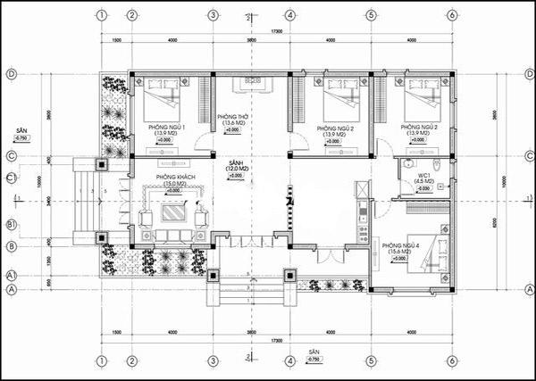 Bản vẽ mặt bằng nhà cấp 4 có 4 phòng ngủ